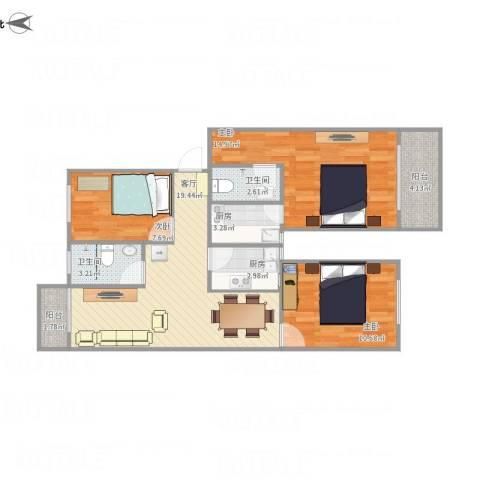 厦门古龙公寓3室1厅2卫2厨97.00㎡户型图