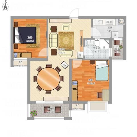 高速滨湖时代广场2室1厅1卫1厨89.00㎡户型图