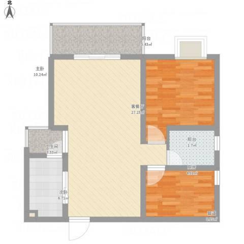 恒基雍景新城2室1厅1卫1厨85.00㎡户型图