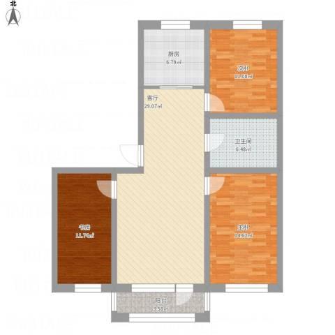 襄平蓝庭123.213室1厅1卫1厨121.00㎡户型图