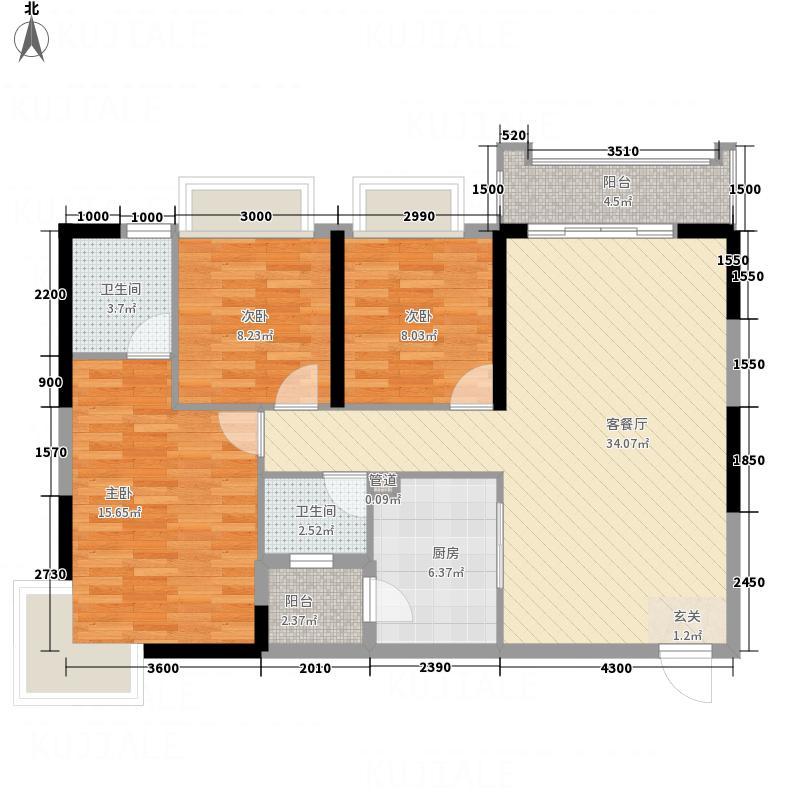 华元・奥林财富中心122.14㎡1#2#A2户型3室2厅2卫1厨