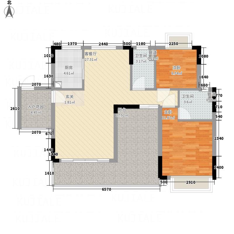 鼎湖森邻112.10㎡M1栋6层01户型2室2厅2卫1厨