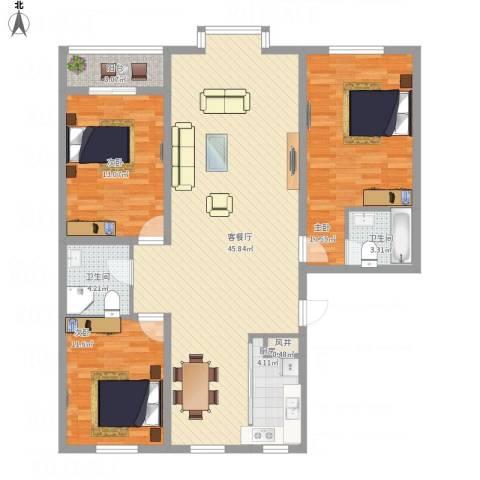 御品星城3室1厅2卫1厨145.00㎡户型图
