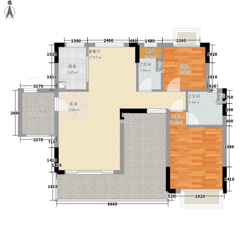 鼎湖森邻112.10㎡M1栋2层01户型2室2厅2卫1厨