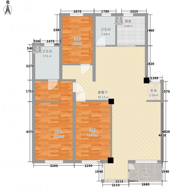 万意空间128.00㎡户型3室2厅2卫