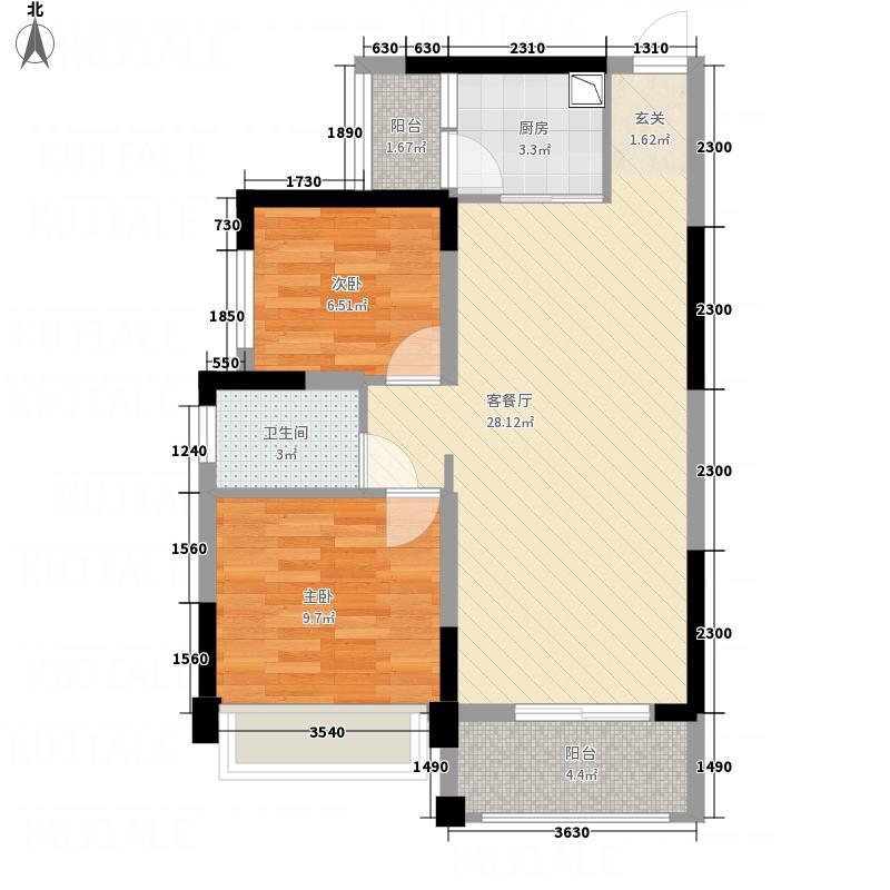 瀚林银座76.60㎡11#04户型2室2厅1卫1厨