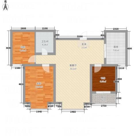 橄榄城3室1厅1卫1厨73.81㎡户型图