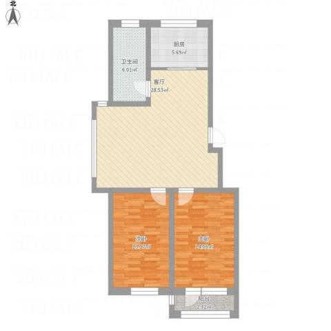 襄平蓝庭100.98-101.022室1厅1卫1厨101.00㎡户型图