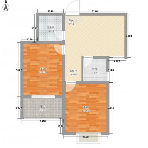 园城汇龙湾2室1厅1卫1厨87.00㎡户型图