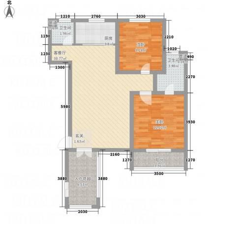 橄榄城2室1厅2卫1厨71.28㎡户型图