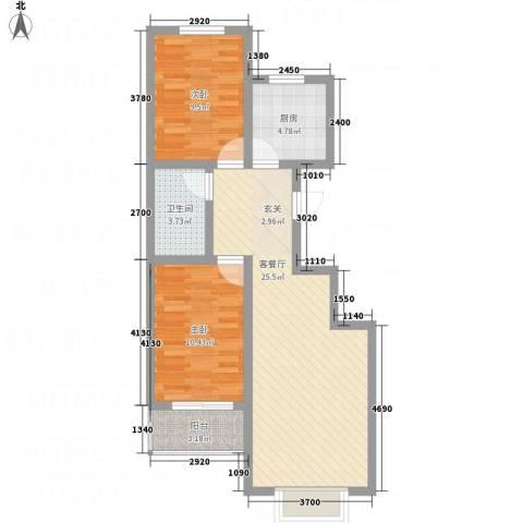 富世康园2室1厅1卫1厨66.50㎡户型图