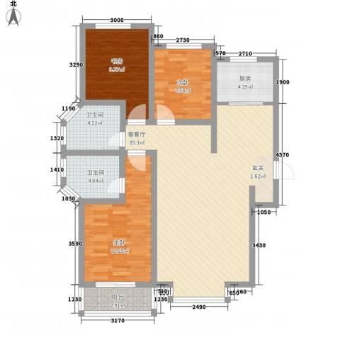橄榄城3室1厅2卫1厨79.83㎡户型图