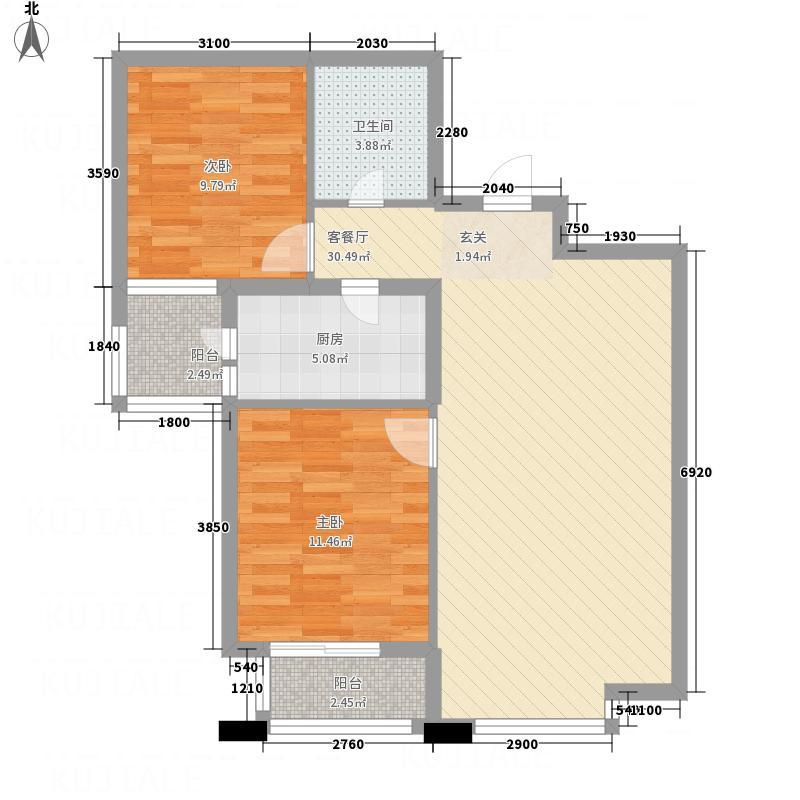 橄榄城1.23㎡4-B户型2室2厅1卫