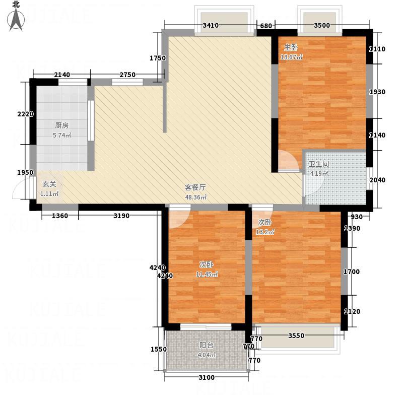 园城汇龙湾126.75㎡A户型3室2厅1卫1厨