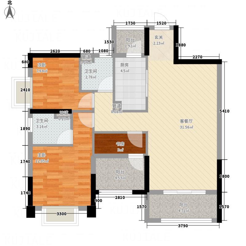 悦湖星城6栋A户型3室2厅2卫1厨