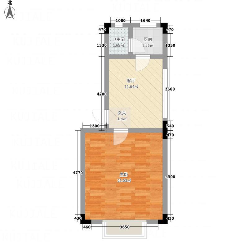 锦湖花园47.68㎡H户型1室1厅1卫1厨