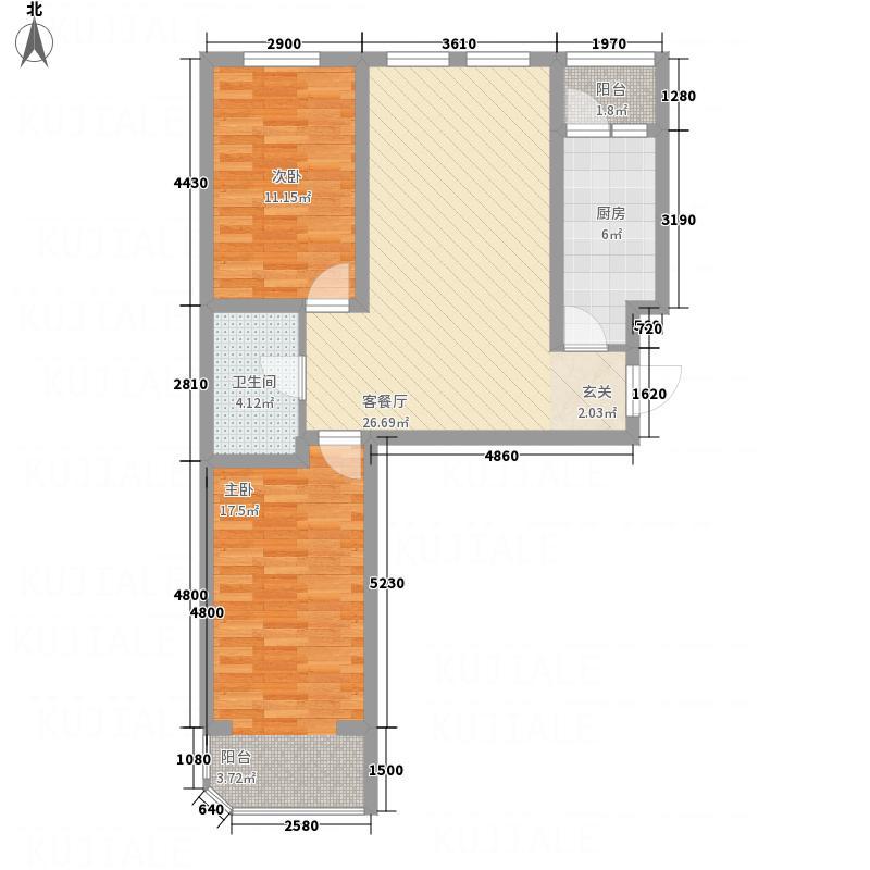 江南帝景3.35㎡A栋3单元C4户型2室1厅1卫1厨