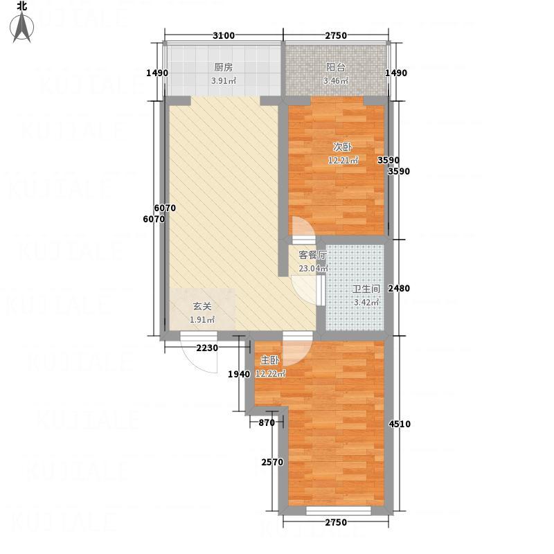 江南帝景7.56㎡A栋2单元B3户型2室1厅1卫1厨