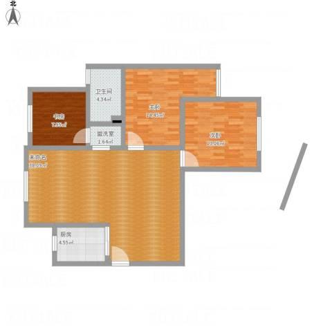 紫东国际3室1厅1卫1厨120.00㎡户型图