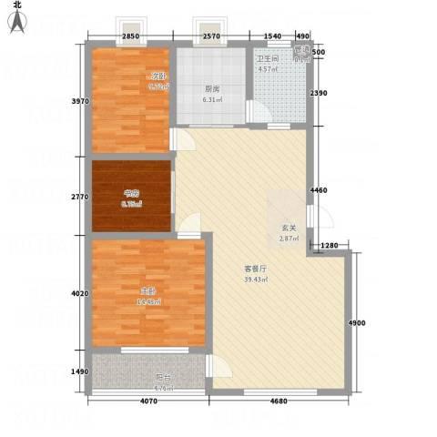 丽景苑3室1厅1卫1厨122.00㎡户型图