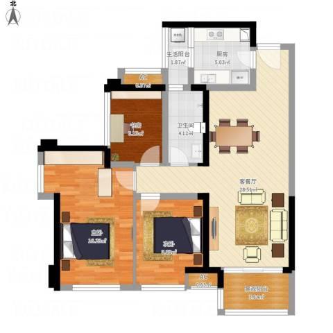 华润城·润府3室1厅1卫1厨111.00㎡户型图