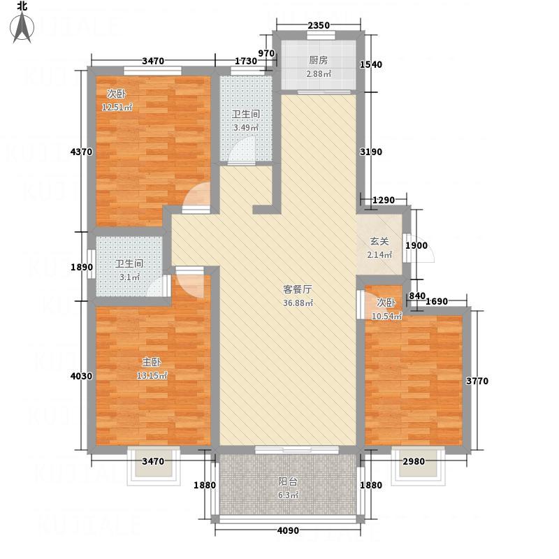 荣基春城128.00㎡户型3室2厅2卫1厨