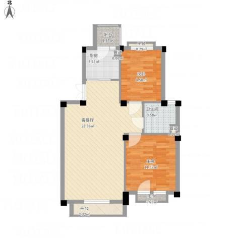 康桥小镇2室1厅1卫1厨88.00㎡户型图