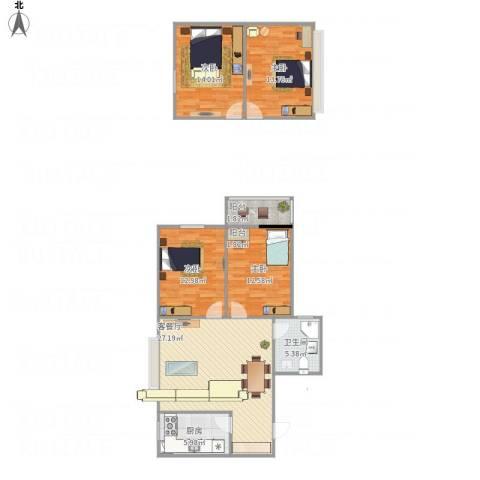 幸福香寓4室1厅1卫1厨128.00㎡户型图