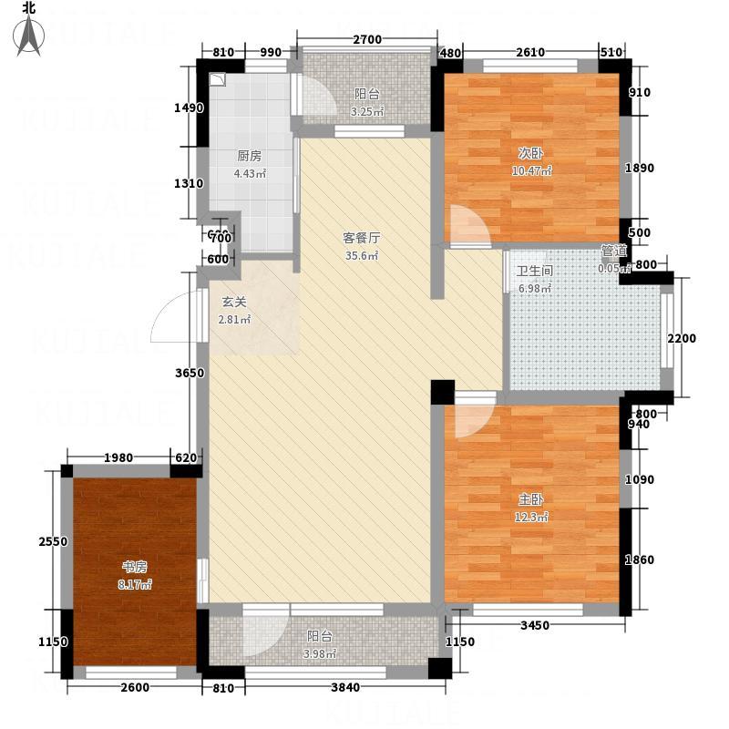 海泉湾・霞光府1.70㎡户型3室2厅1卫1厨
