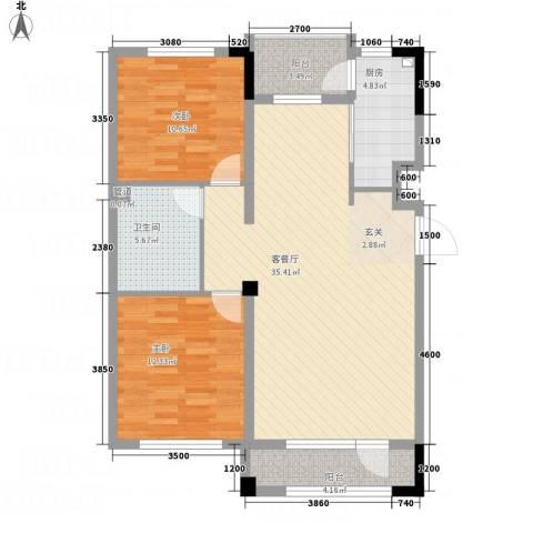 海泉湾・霞光府2室1厅1卫1厨76.60㎡户型图