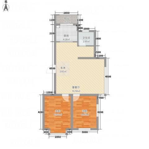 河东馨苑2室1厅1卫1厨65.73㎡户型图