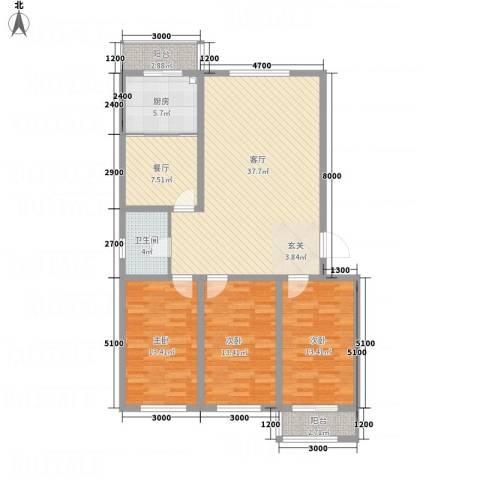 祥和嘉园3室2厅1卫1厨143.00㎡户型图