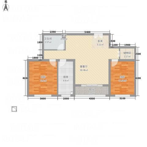 祥和嘉园2室1厅1卫1厨103.00㎡户型图