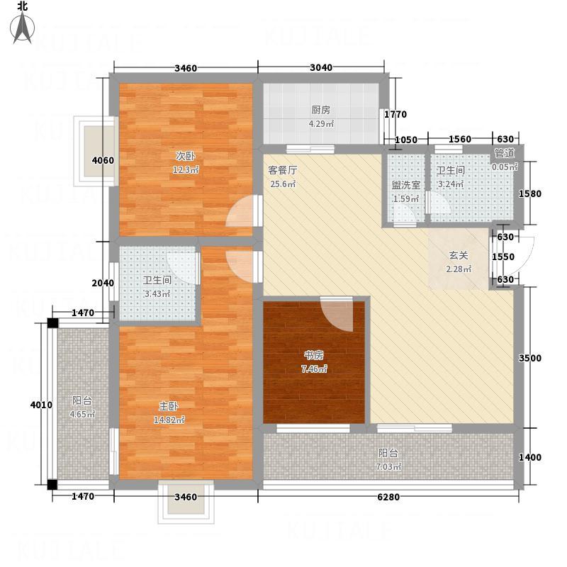 福盈天际322123.31㎡b户型3室2厅2卫