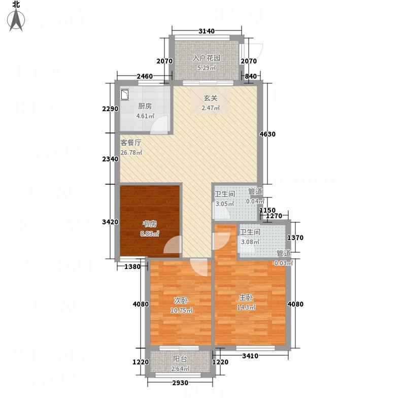 天马华庭112.87㎡户型3室2厅2卫1厨