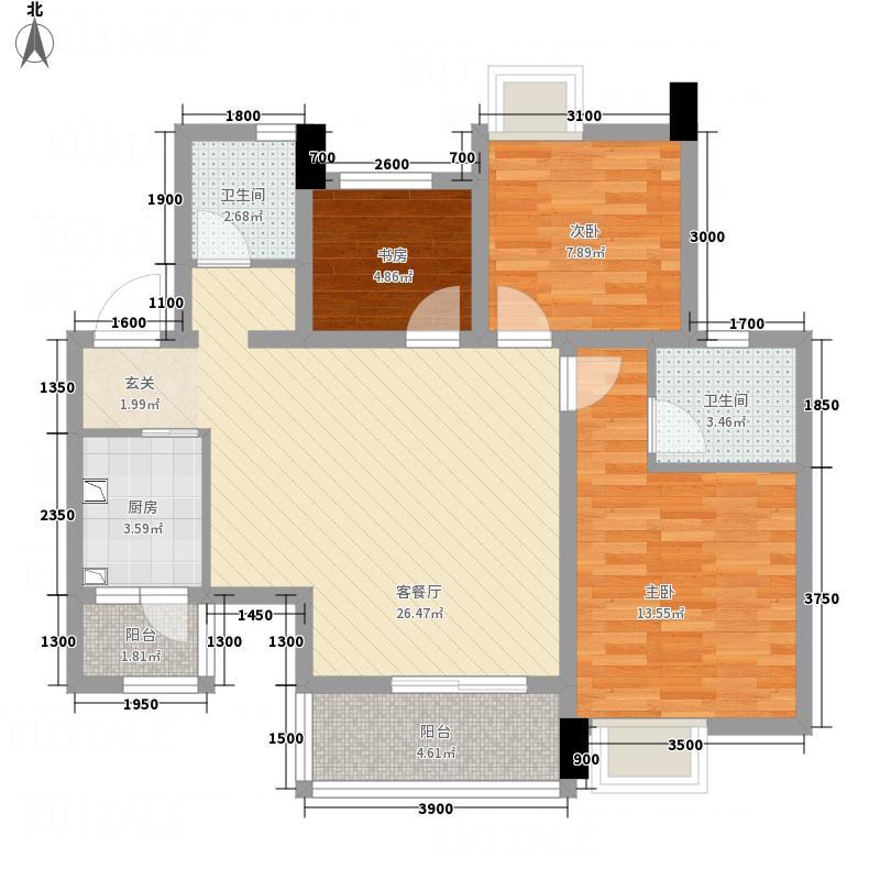 广发壹号6.35㎡B1户型2室2厅2卫1厨
