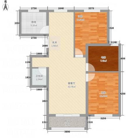 龙栖左岸3室1厅1卫1厨75.00㎡户型图