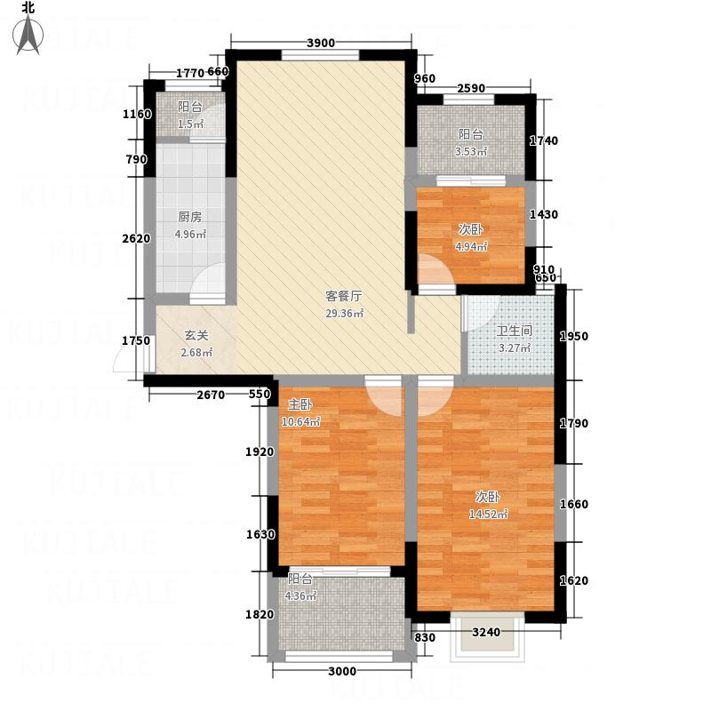 中奥万融公馆113.67㎡F户型3室1厅1卫