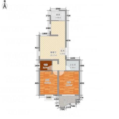 千禧・御东画卷3室1厅1卫1厨72.99㎡户型图