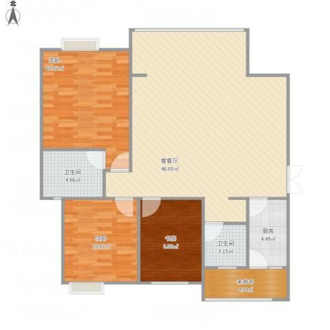 旌城一品3室1厅2卫1厨132.00㎡户型图