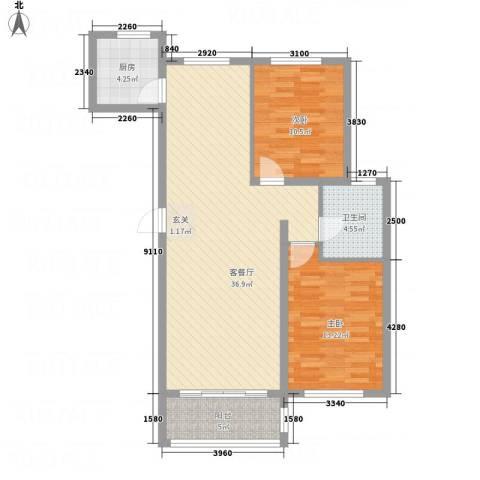 龙栖左岸2室1厅1卫1厨105.00㎡户型图