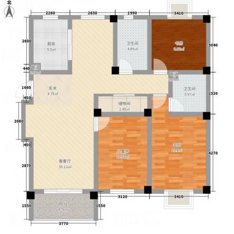 腾龙苑3室1厅2卫1厨132.00㎡户型图