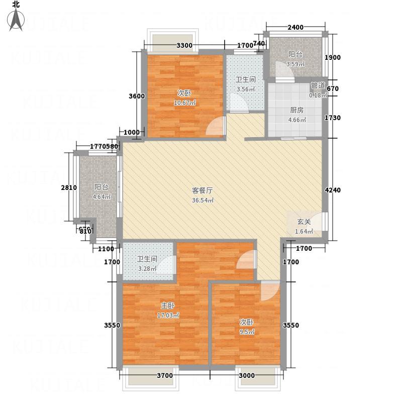 万华城125.17㎡E2户型3室2厅2卫1厨