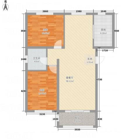 龙栖左岸2室1厅1卫1厨108.00㎡户型图