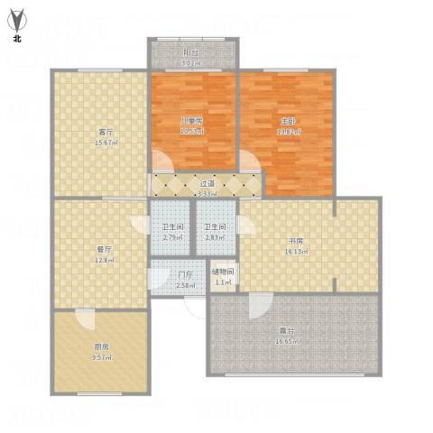 华庆里3室2厅2卫1厨148.00㎡户型图