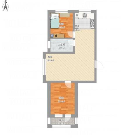 襄平蓝庭2室1厅1卫1厨86.00㎡户型图