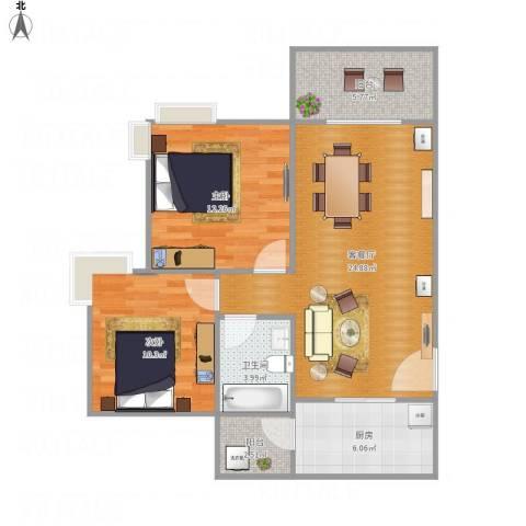 广州亚运城天誉2室1厅1卫1厨89.00㎡户型图