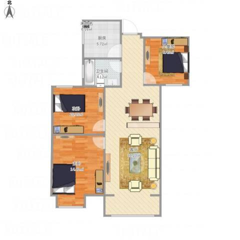 巴黎都市3室1厅1卫1厨105.00㎡户型图