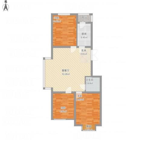 国泉城3室1厅1卫1厨113.00㎡户型图