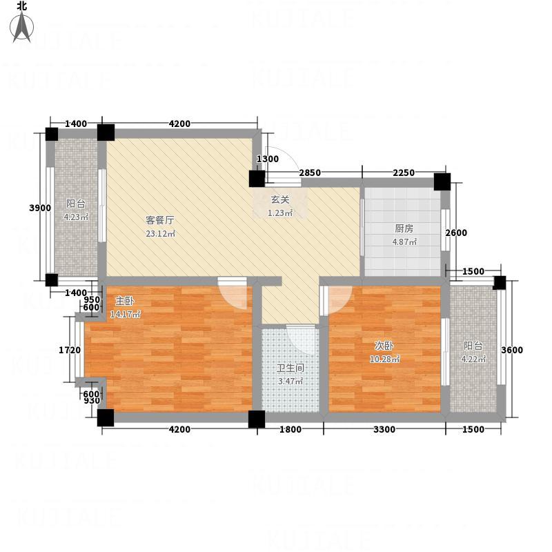 恒星商苑7.70㎡C户型2室2厅1卫1厨